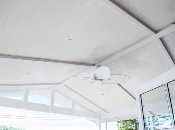 Easy Clad Semi Exterior installed on patio ceiling